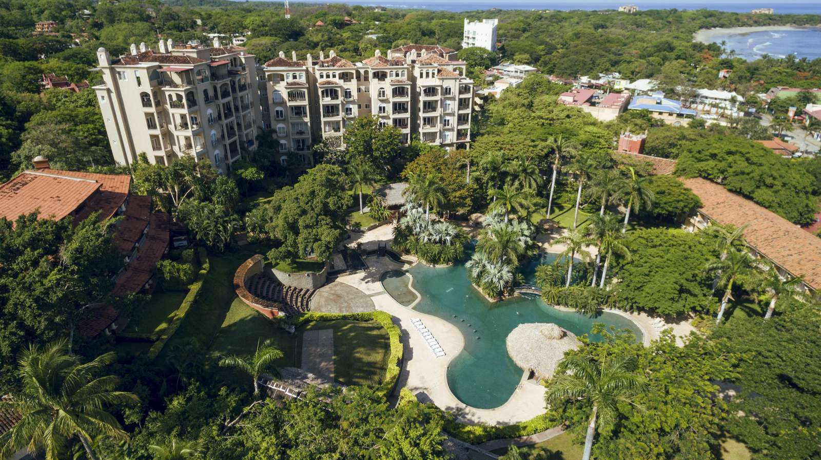 Aerial view of the Matapalo building and Diria Resort Pool