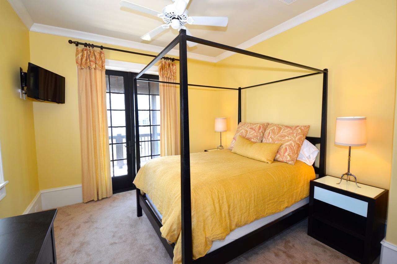 2nd Floor Queen Bedroom (2): Queen Bed, TV, Access to Balcony and Private Bath
