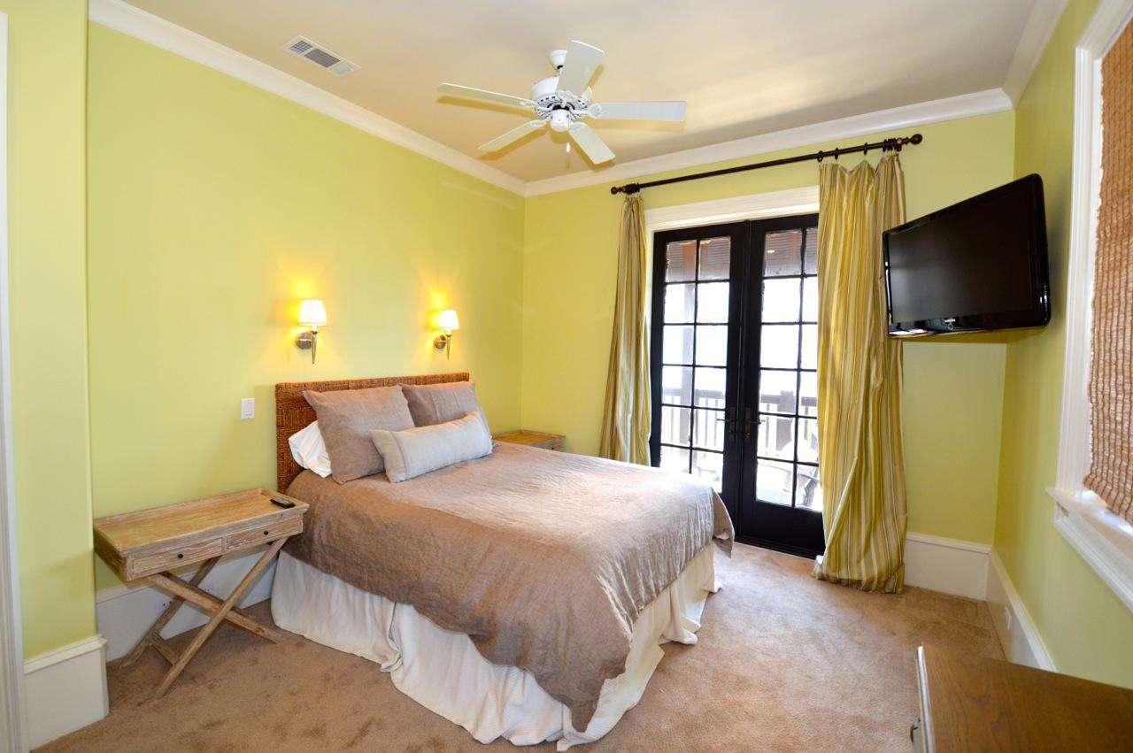 2nd Floor Queen Bedroom (1): Queen Bed, TV, Access to Balcony and Private Bath