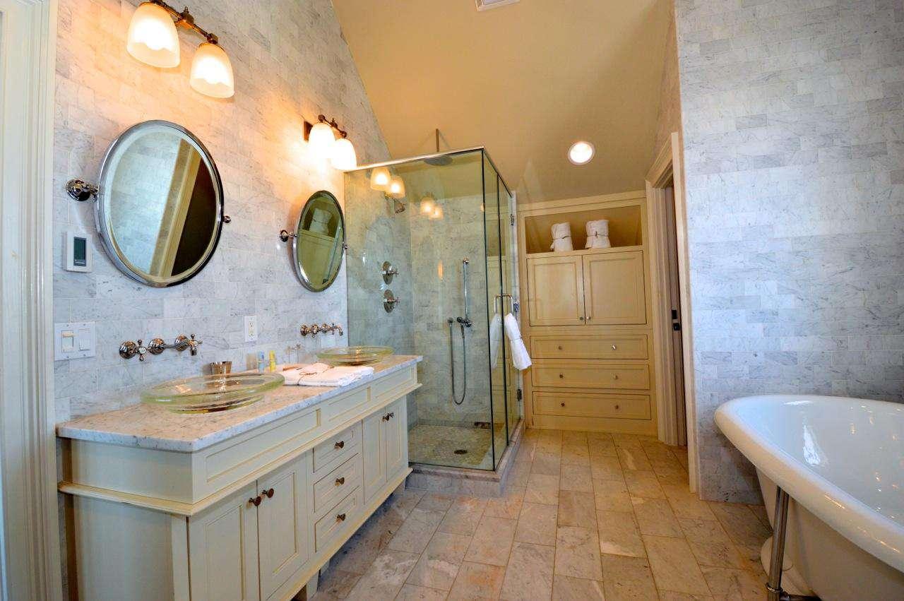 3rd Floor Master Bathroom: Elegant Bathroom with Glass Enclosed Shower, Deep Soaking Tub, Dual Sink Vanity