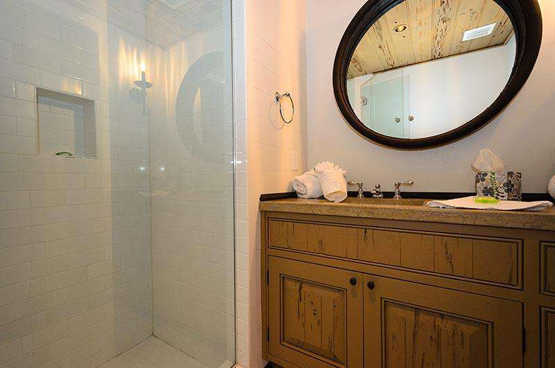 Large Bathroom with glass-enclosed shower