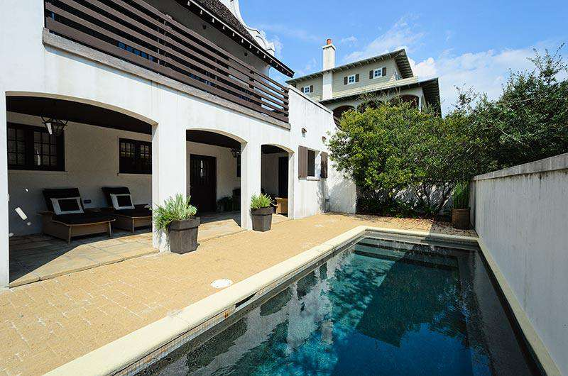 Inviting courtyard with private and spacious loggia and pool