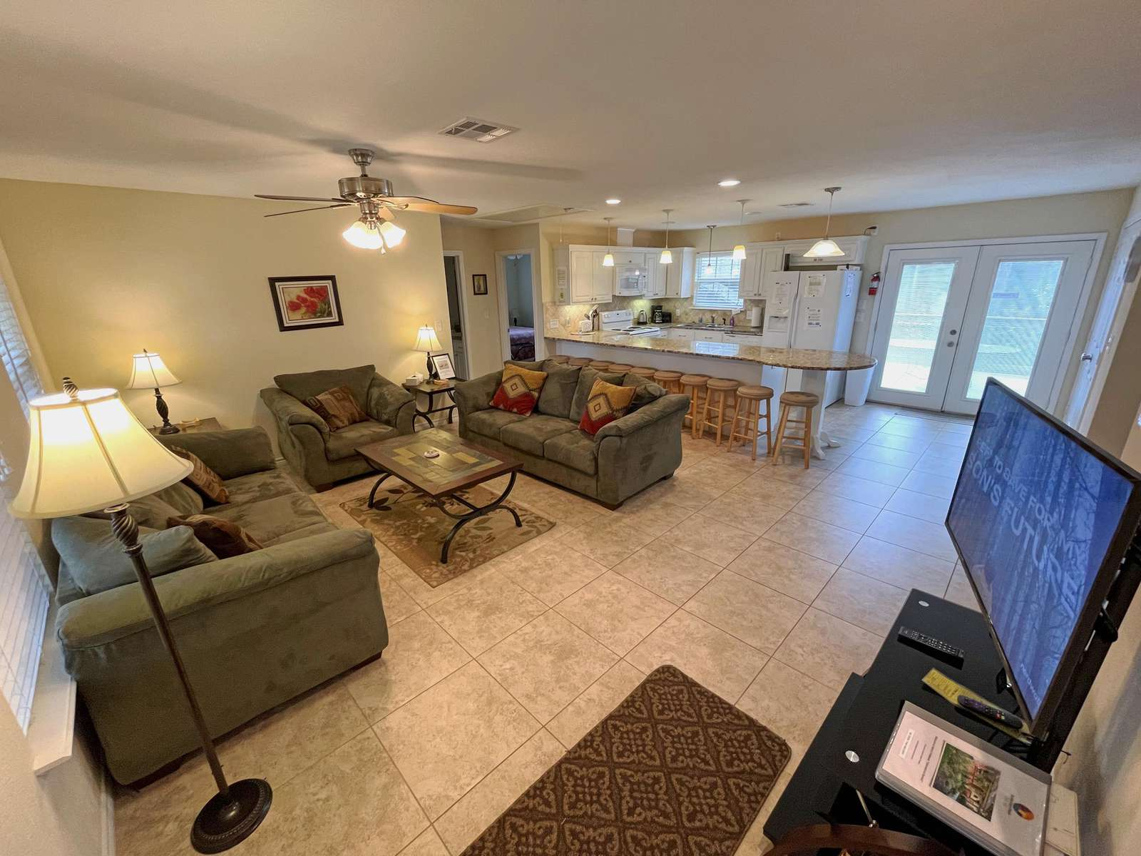 Our guests love the open concept floorplan.It keep everyone in the group.
