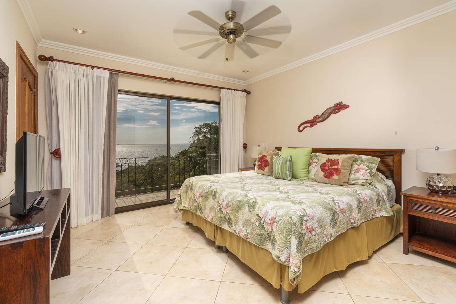 Master bedroom, King bed, ocean views, full private bathroom with walk in shower