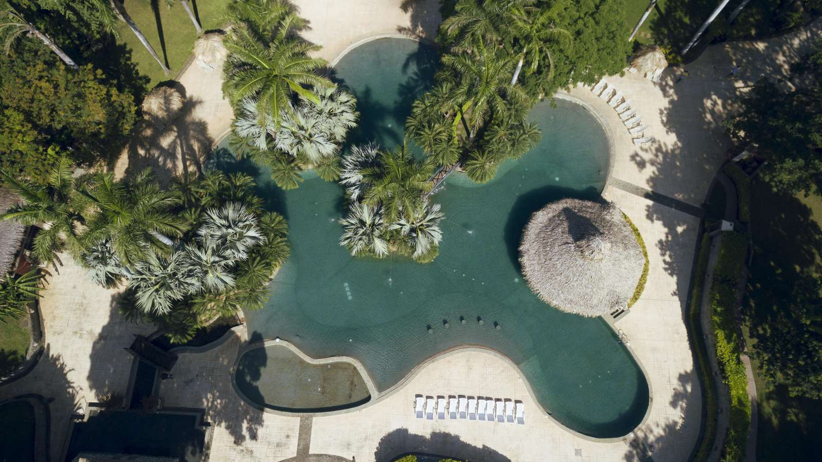 Aerial view of the 10,000 SF free form pool at the Diria Resort