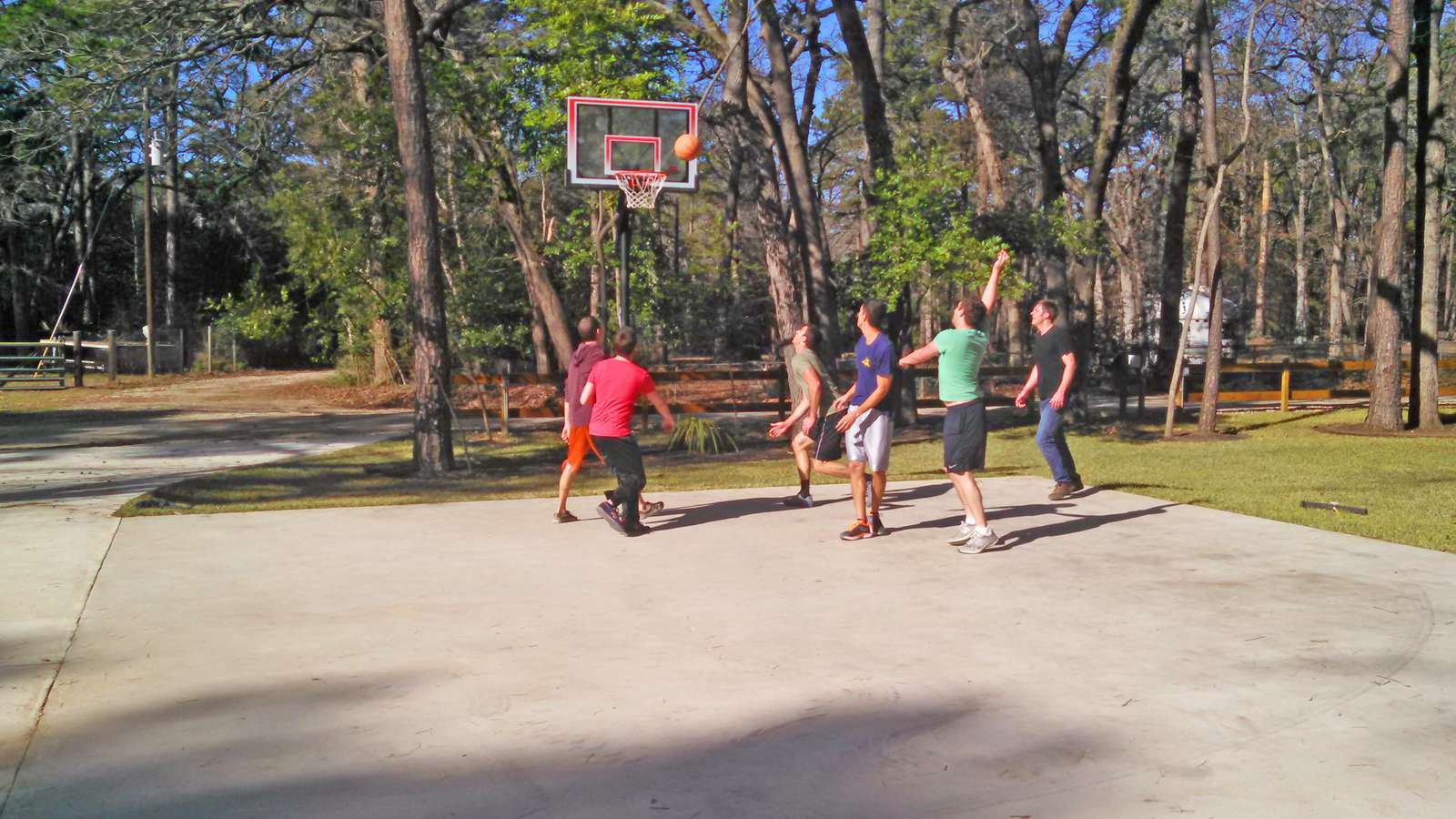 Enjoy a game of basketball on our full court.