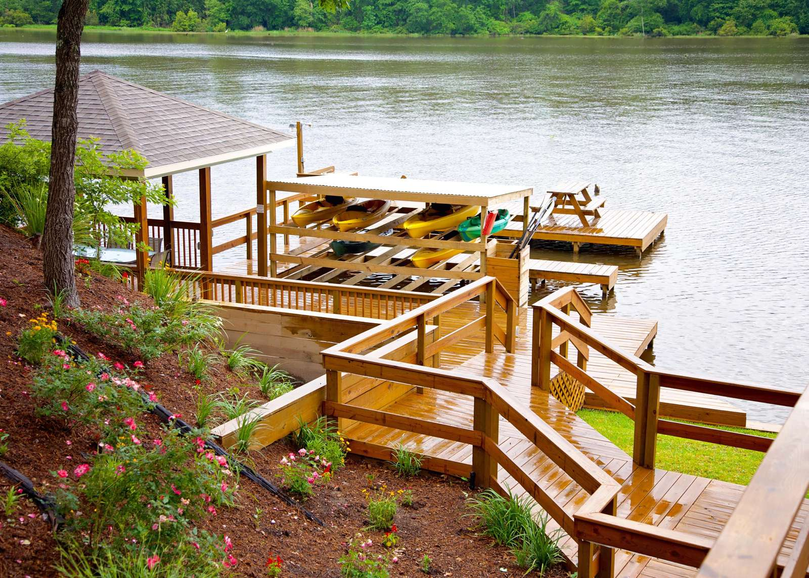 Your personal dock with boat slip, shade cover and fans await your family's fish and swim fest.