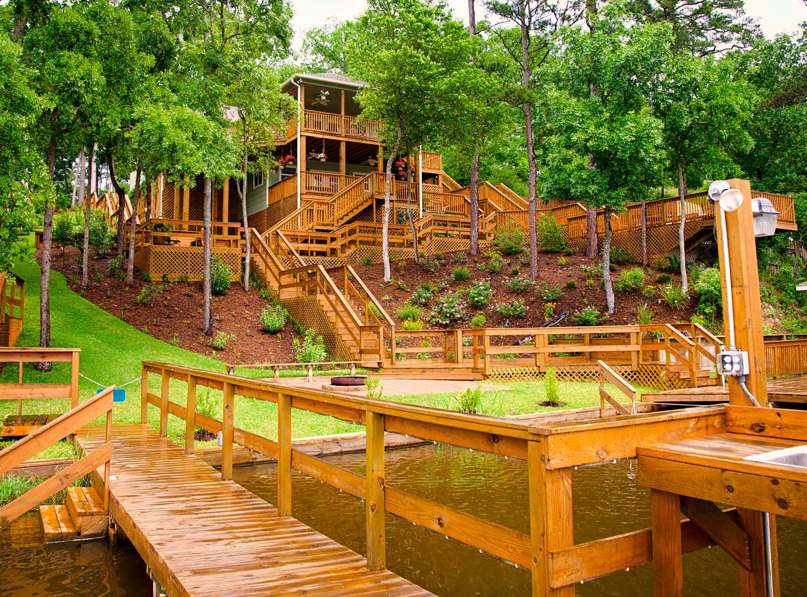 Pats has an incredible amount of decking and landscaping. The decks light at night and present the guests with an awesome show.