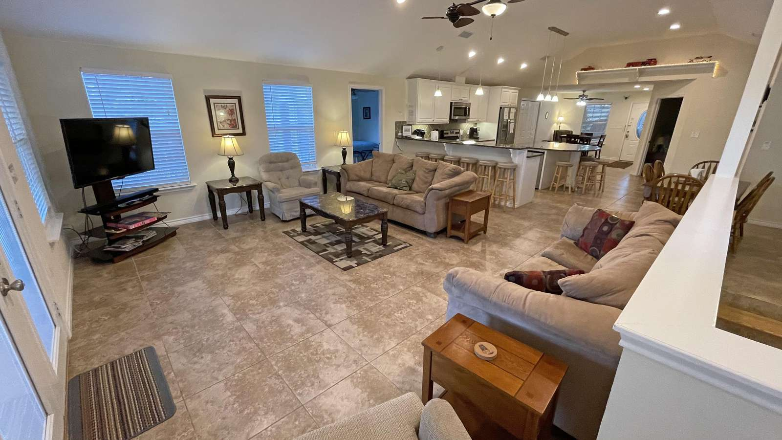 The open floor plan allows all guests to mingle and enjoy family time together.