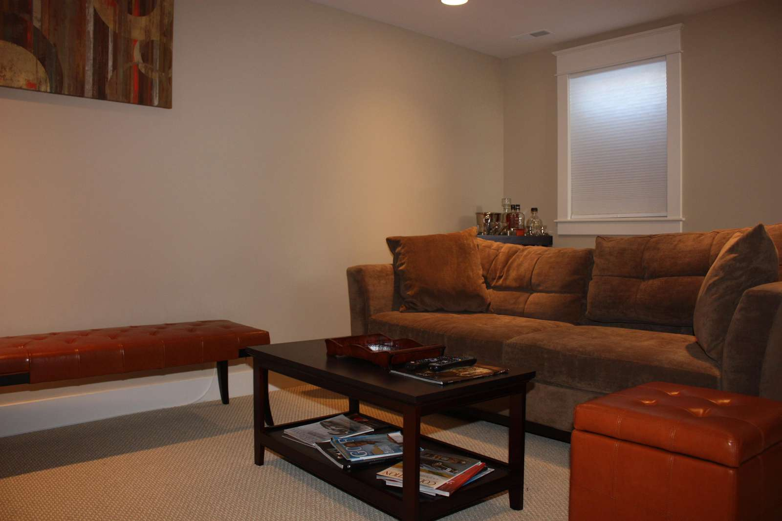 Lower level with TV and fold out couch