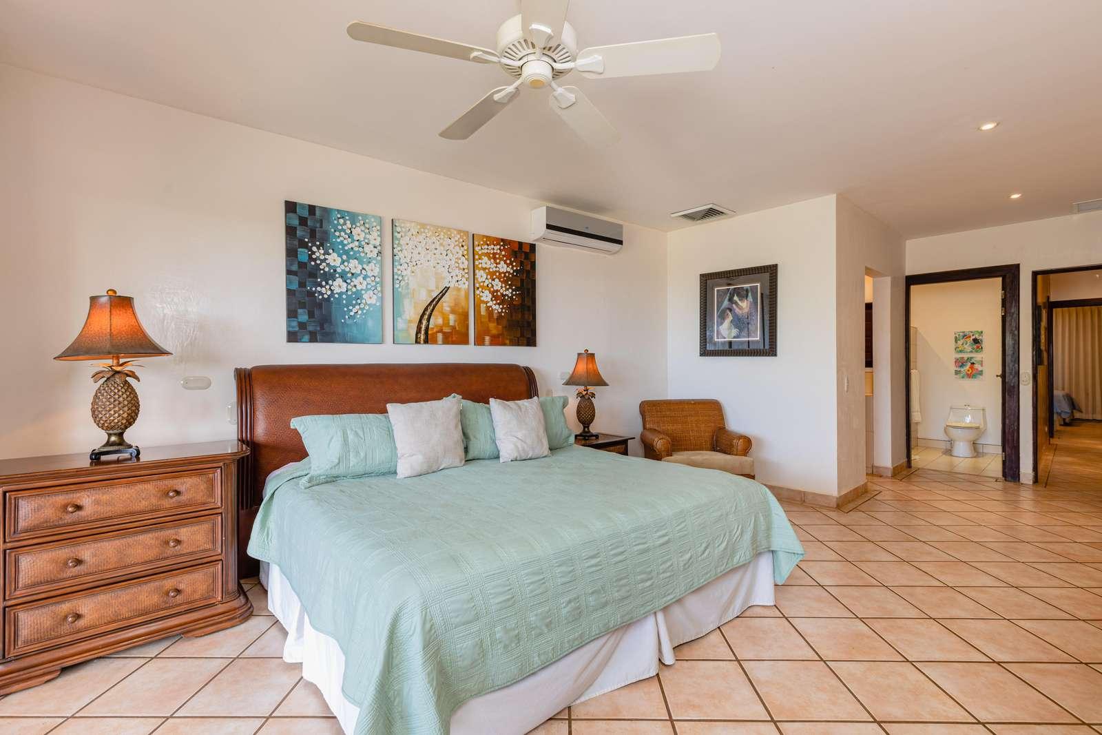 Master bedroom, king bed, private full bathroom
