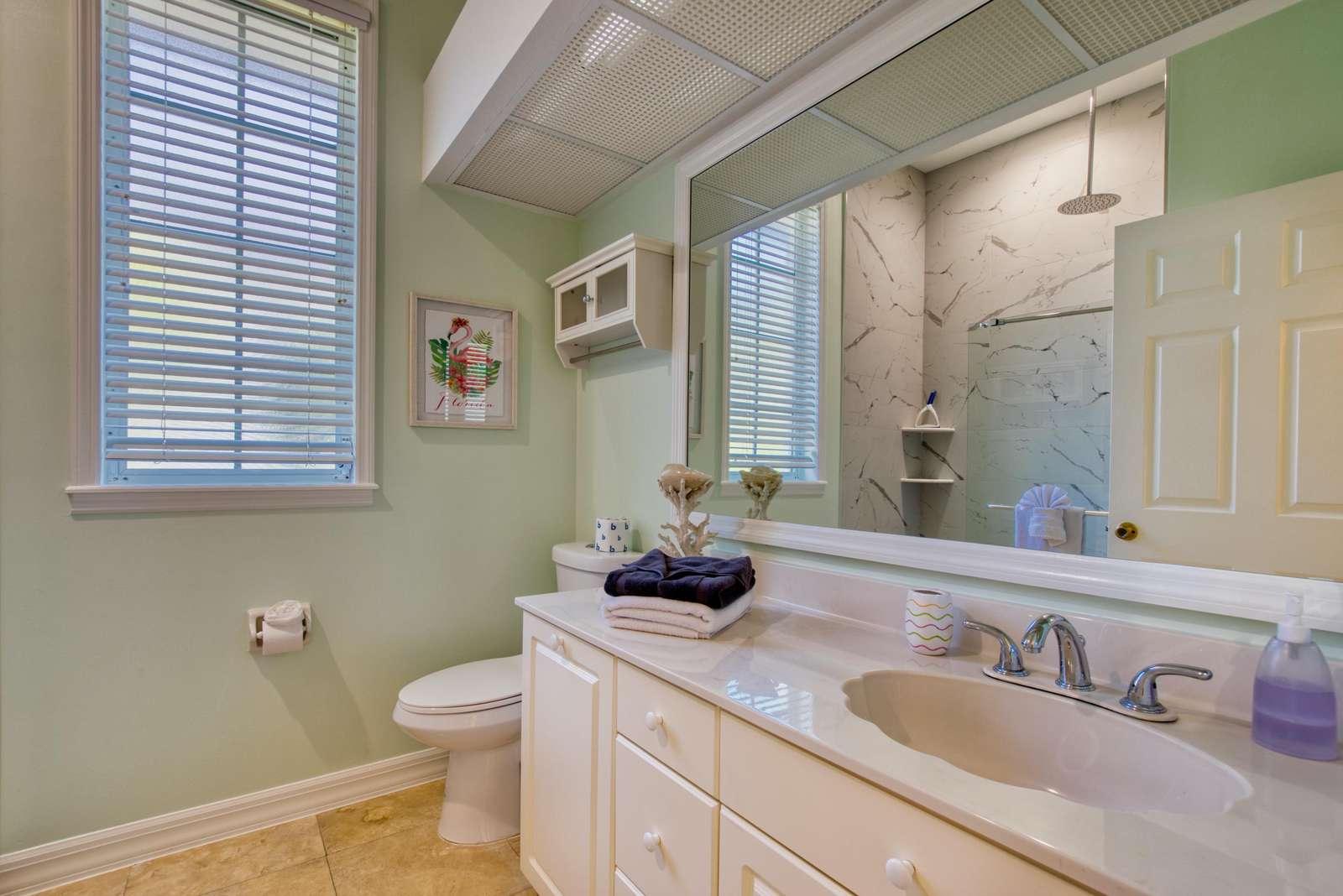 Guest bathroom with walk in rain shower