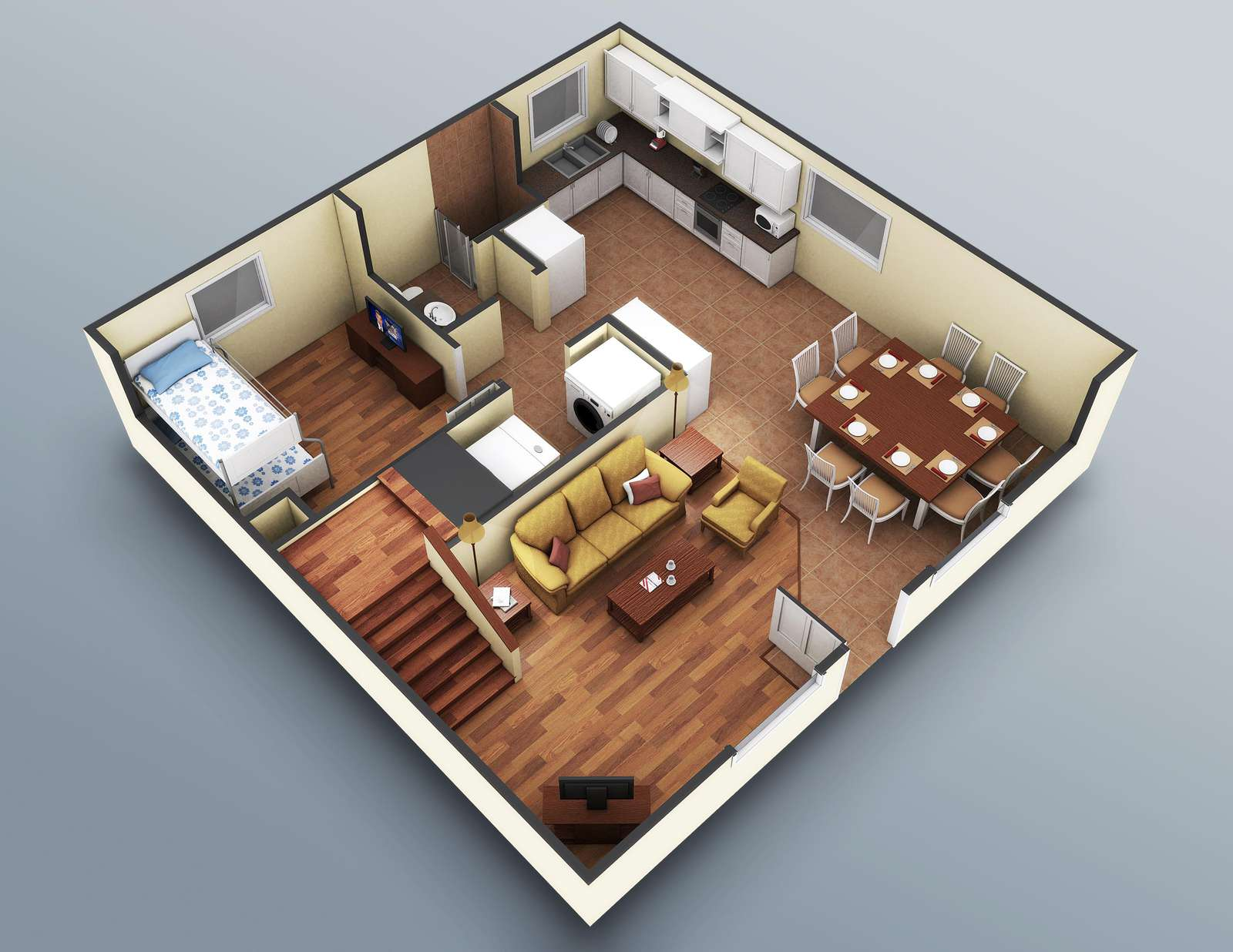 The lower level rendering. Accurate down to the furniture placement.