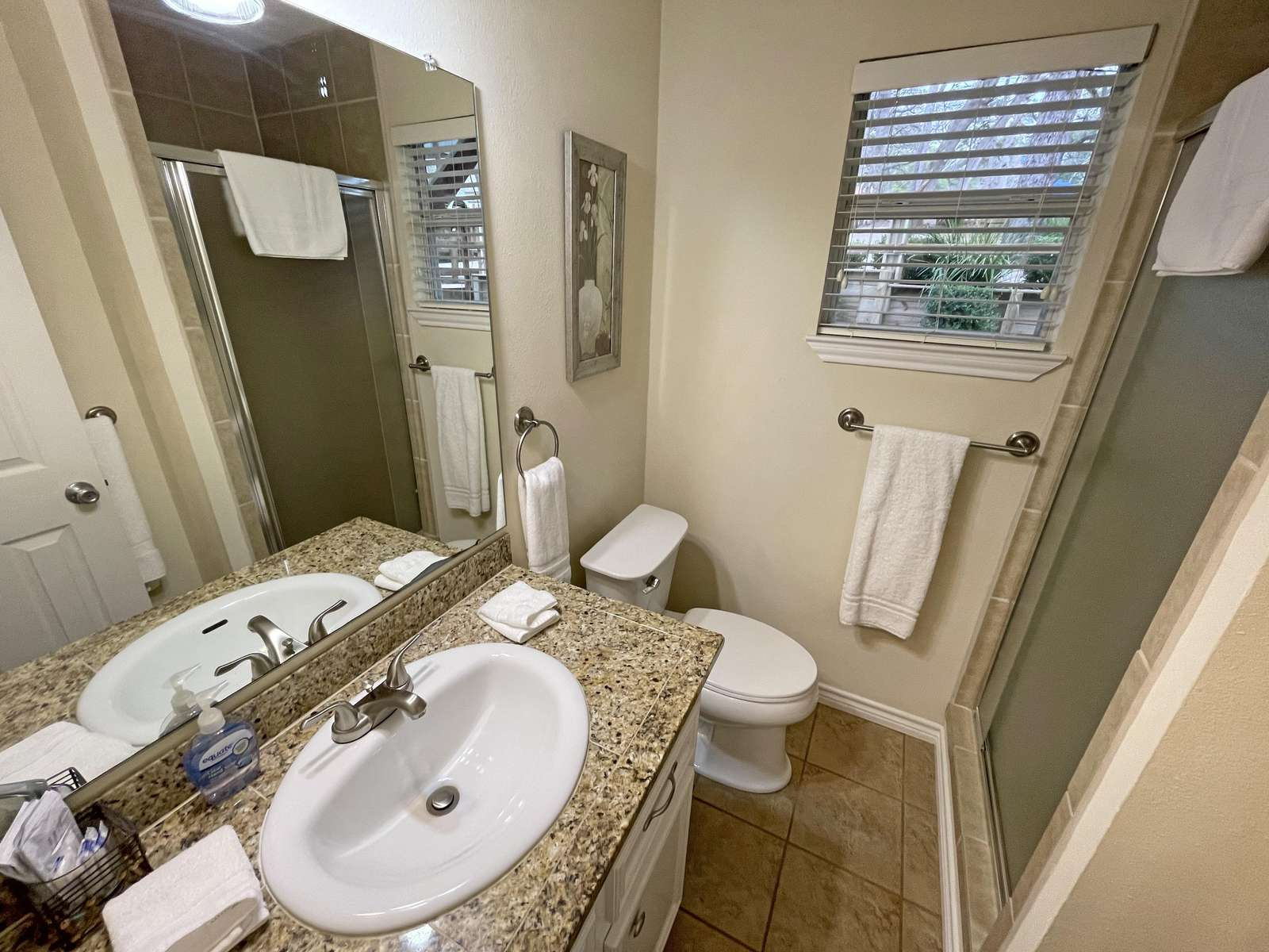 The lower level bathroom with tiled shower.