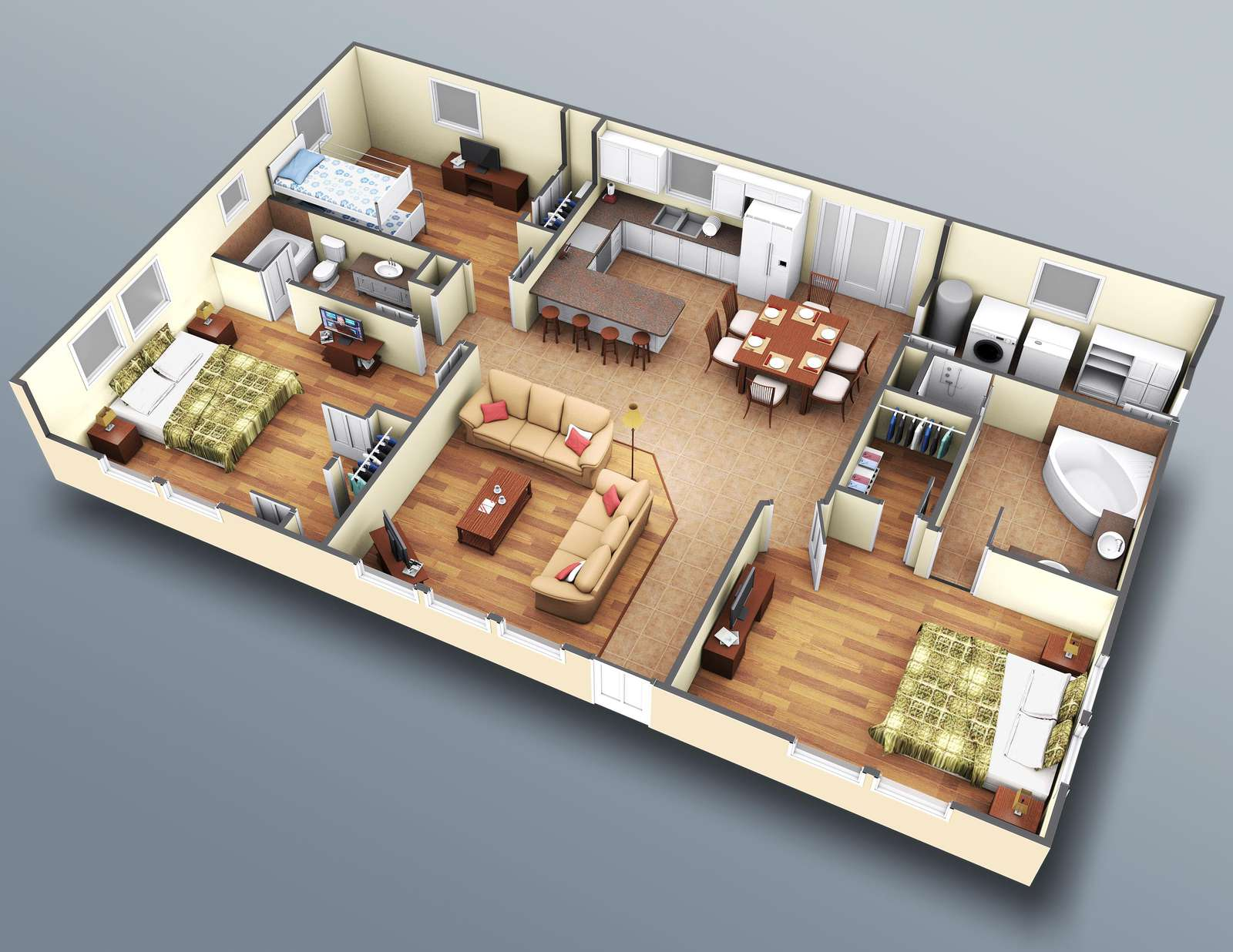 This is a very accurate rendering, right down to the furniture location.