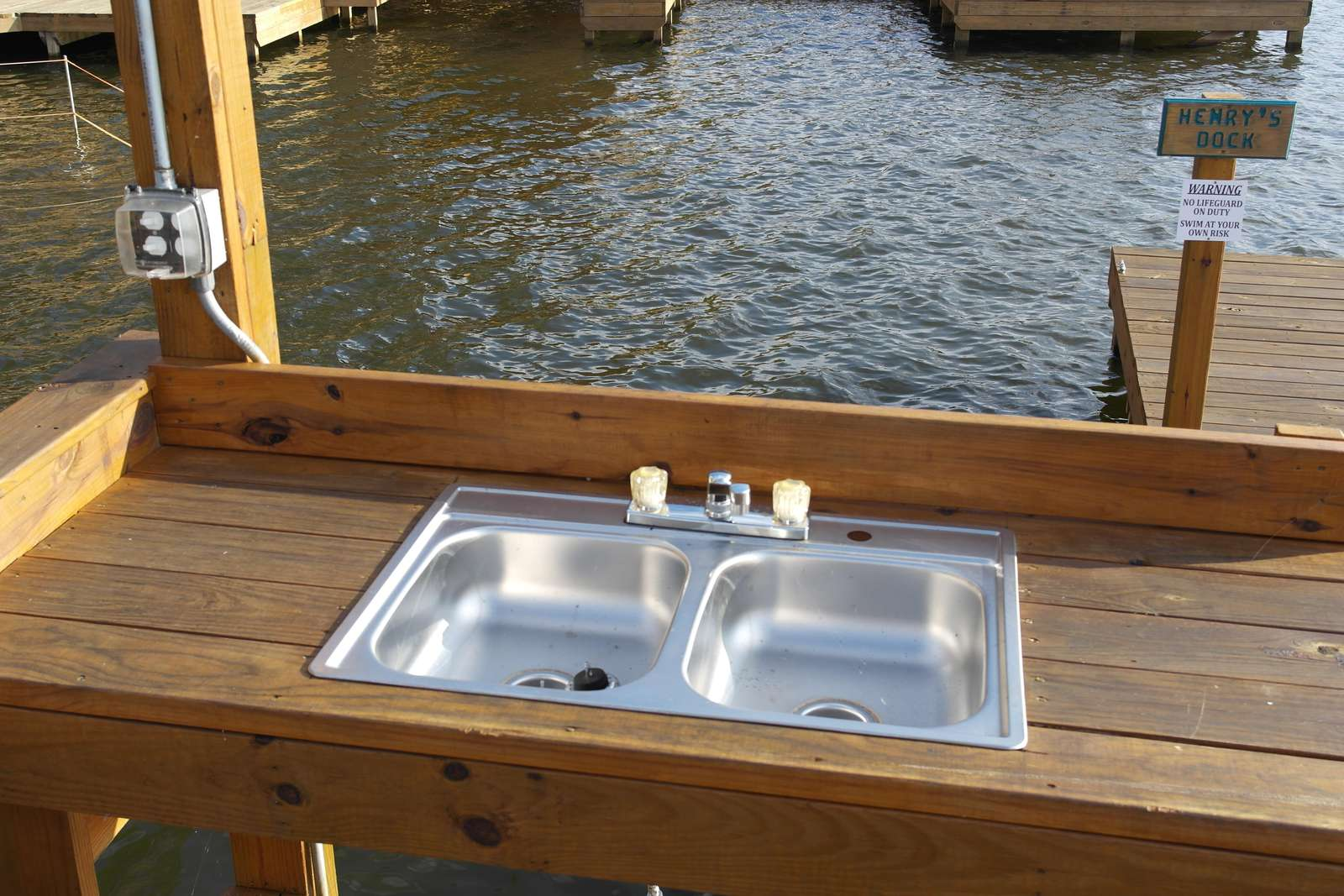 There is a fish cleaning station for your use.