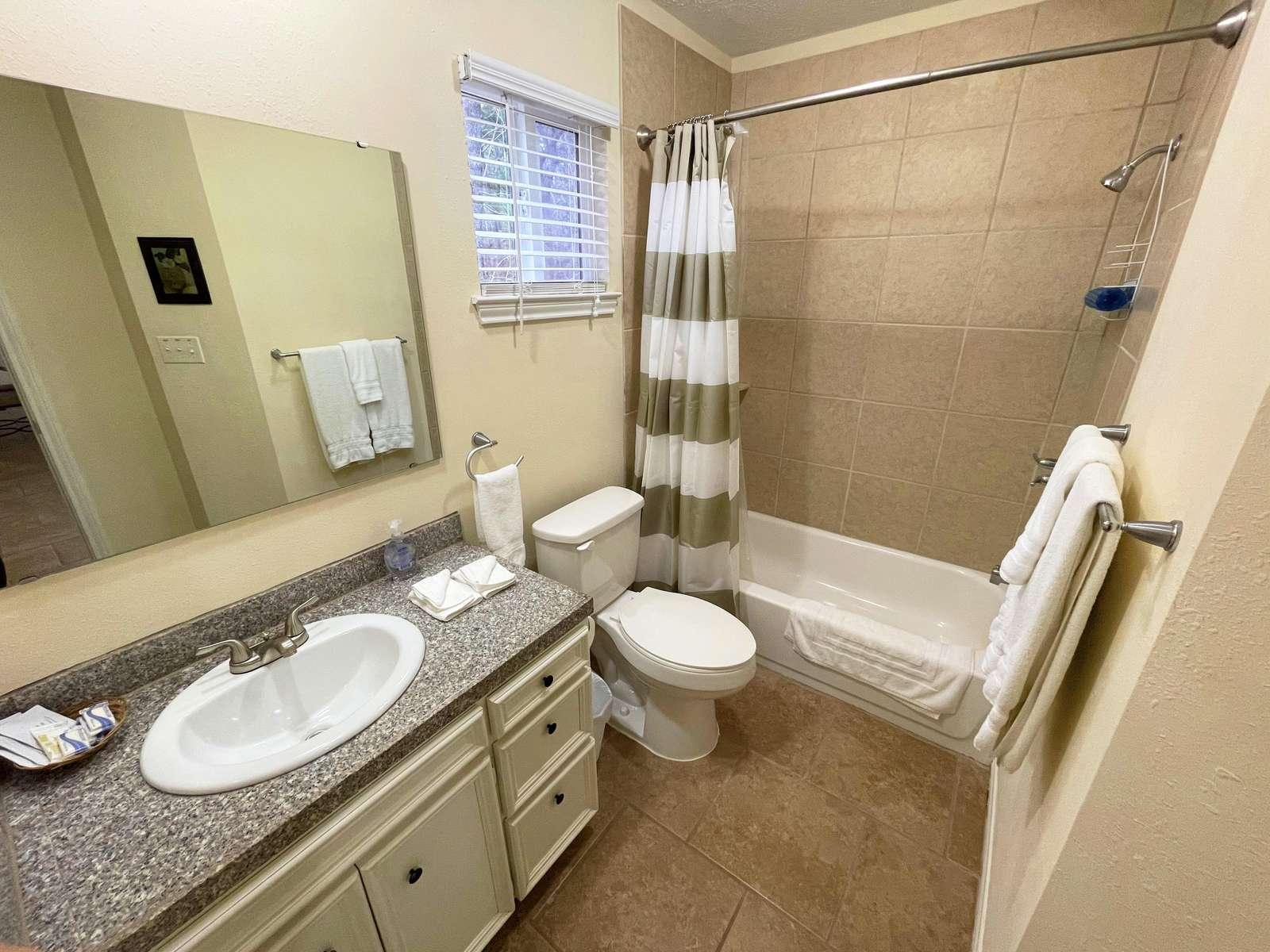 The hall Bathroom with tiled Tub/Shower.