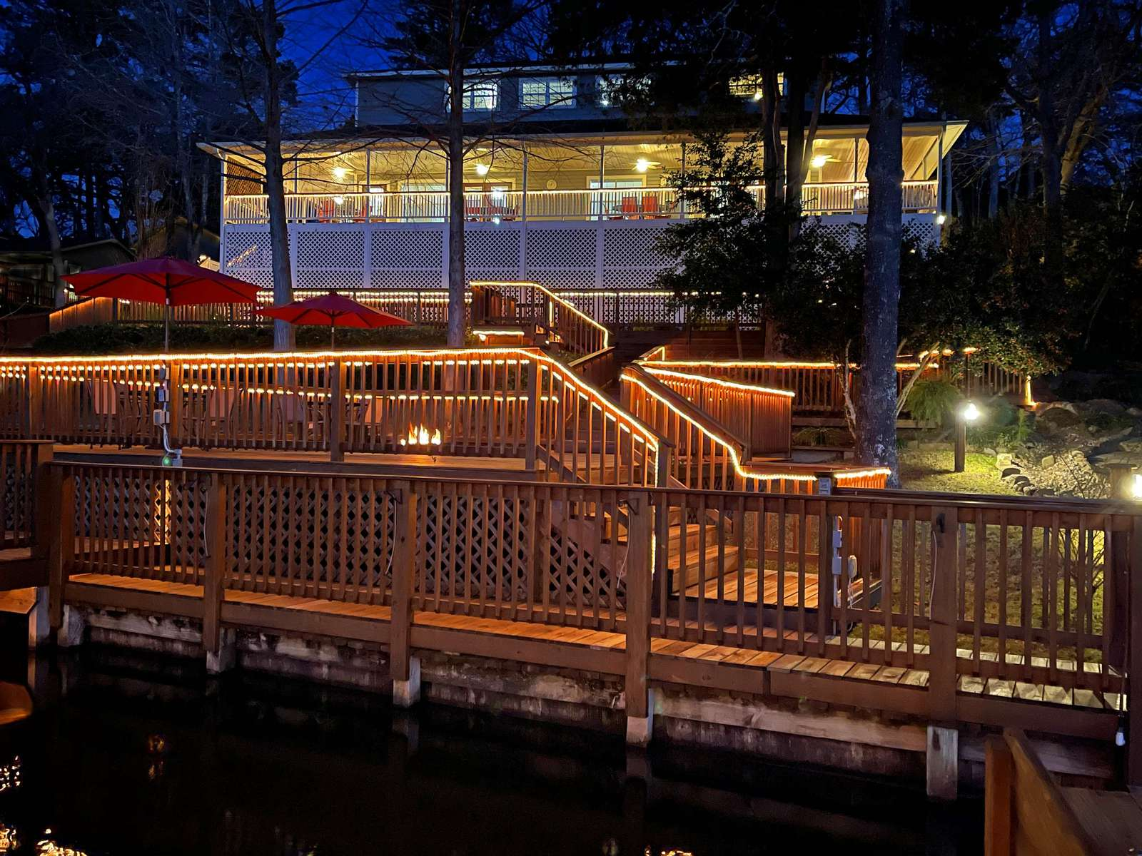 Enjoy a fire down by the lake on the huge lower deck.