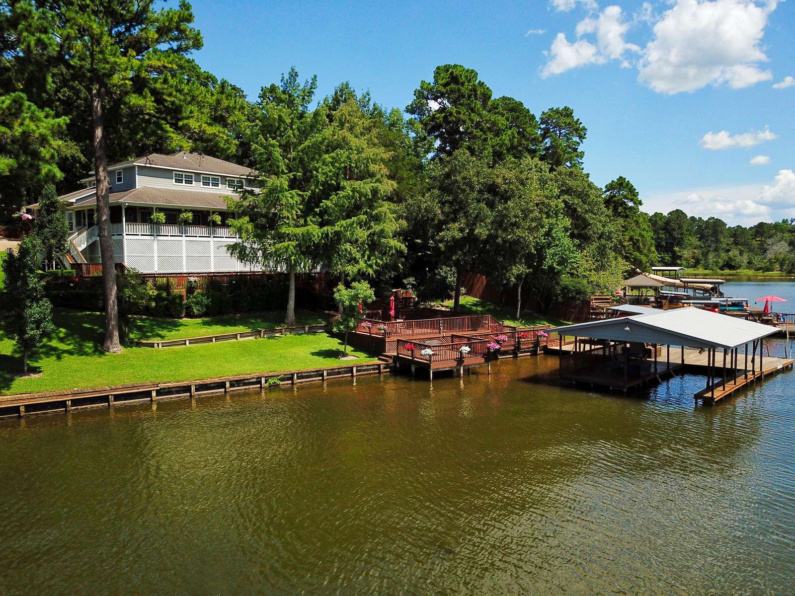 The home sets on two lake lots.