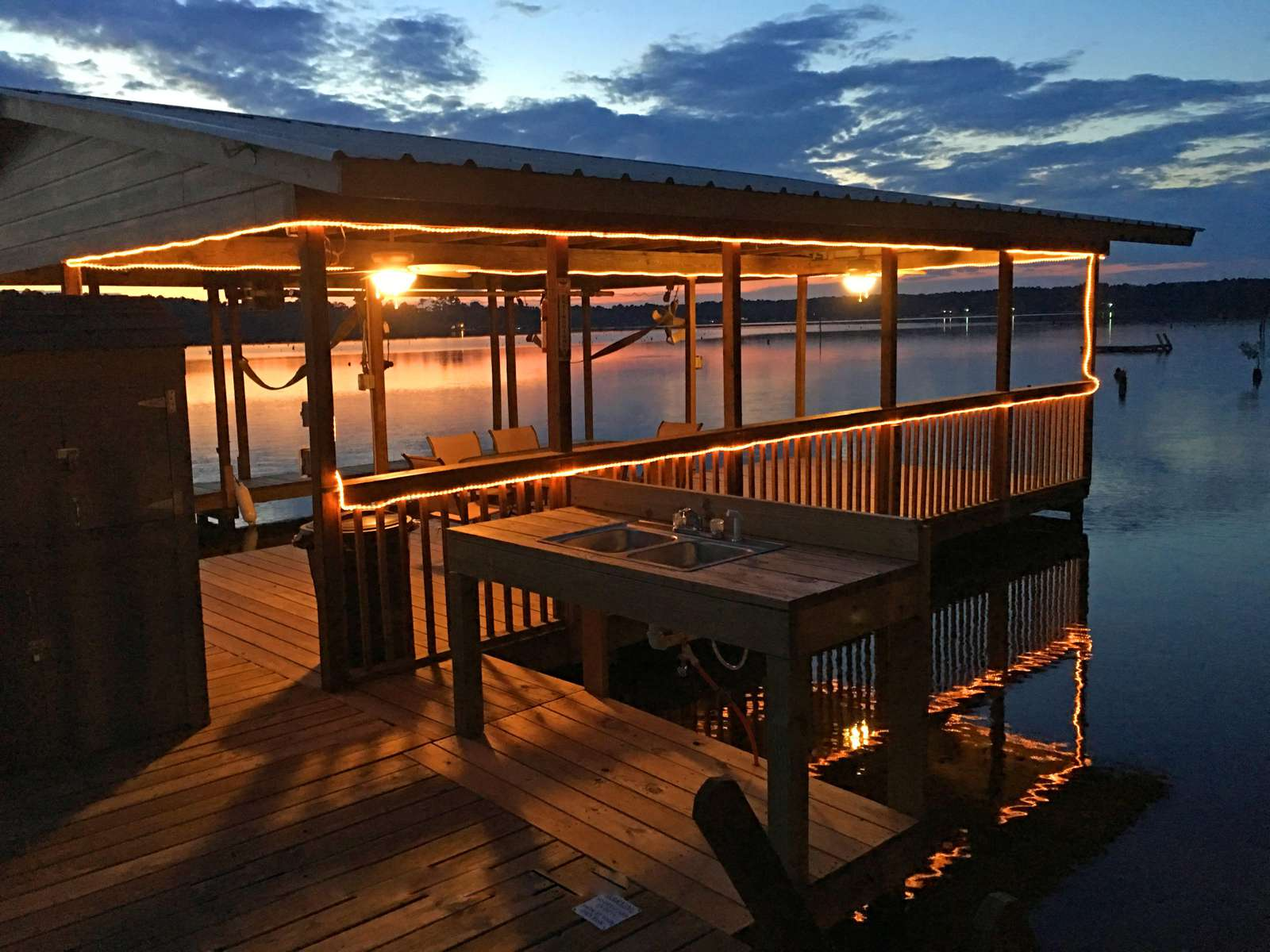 The sitting area on the dock is a great place to gather.