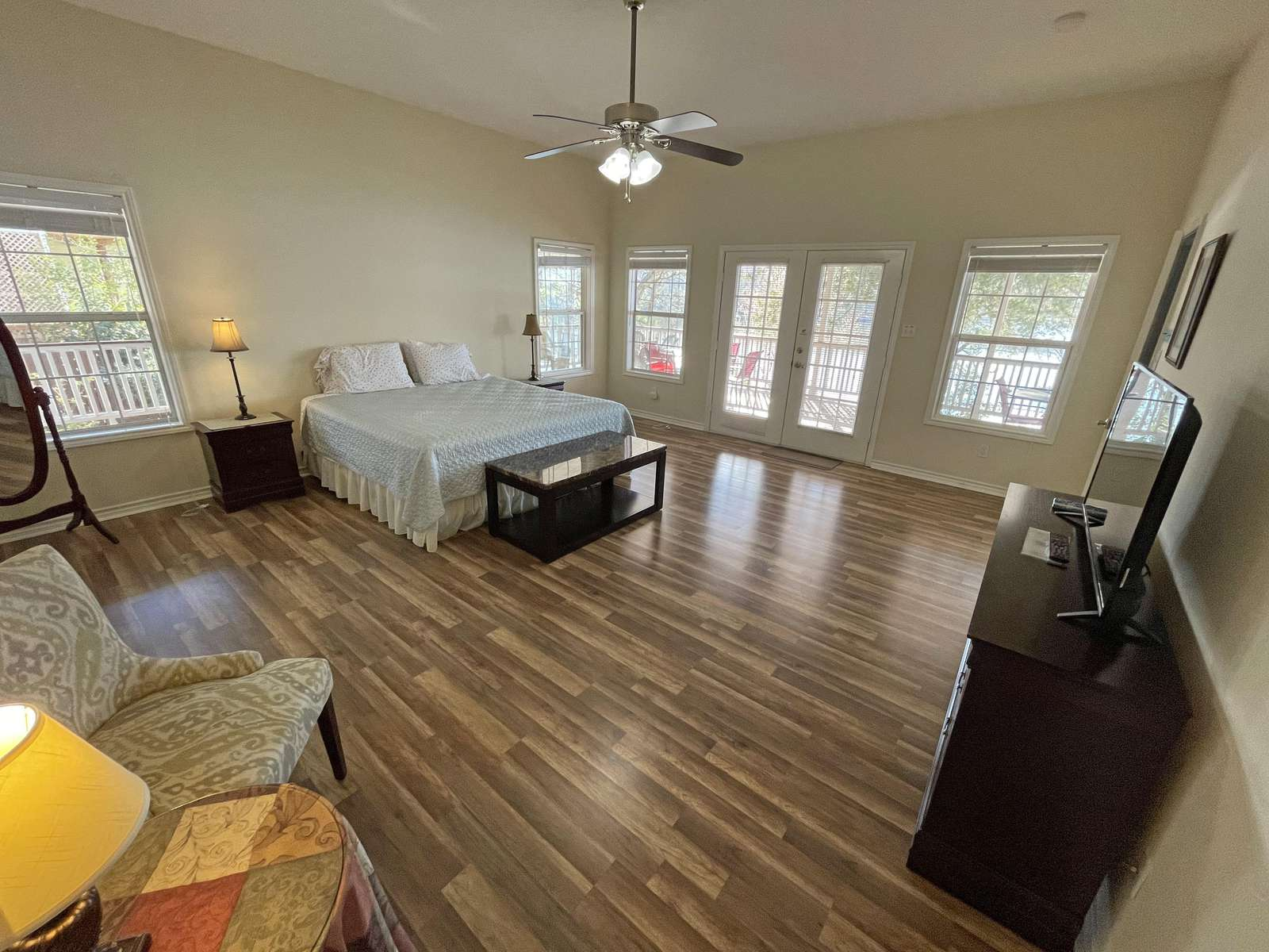 The Master Bedroom is quite roomy! All of The homes bedrooms have televisions and cable T.V
