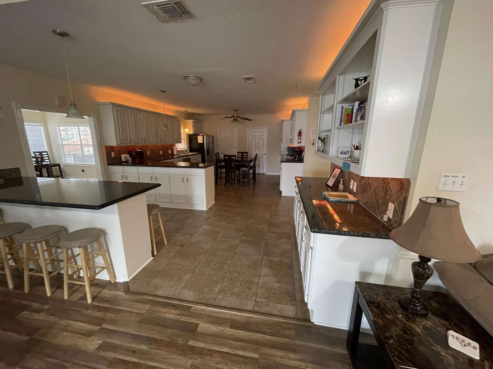 The accent lights in the kitchen are a nice touch for when activities are winding down
