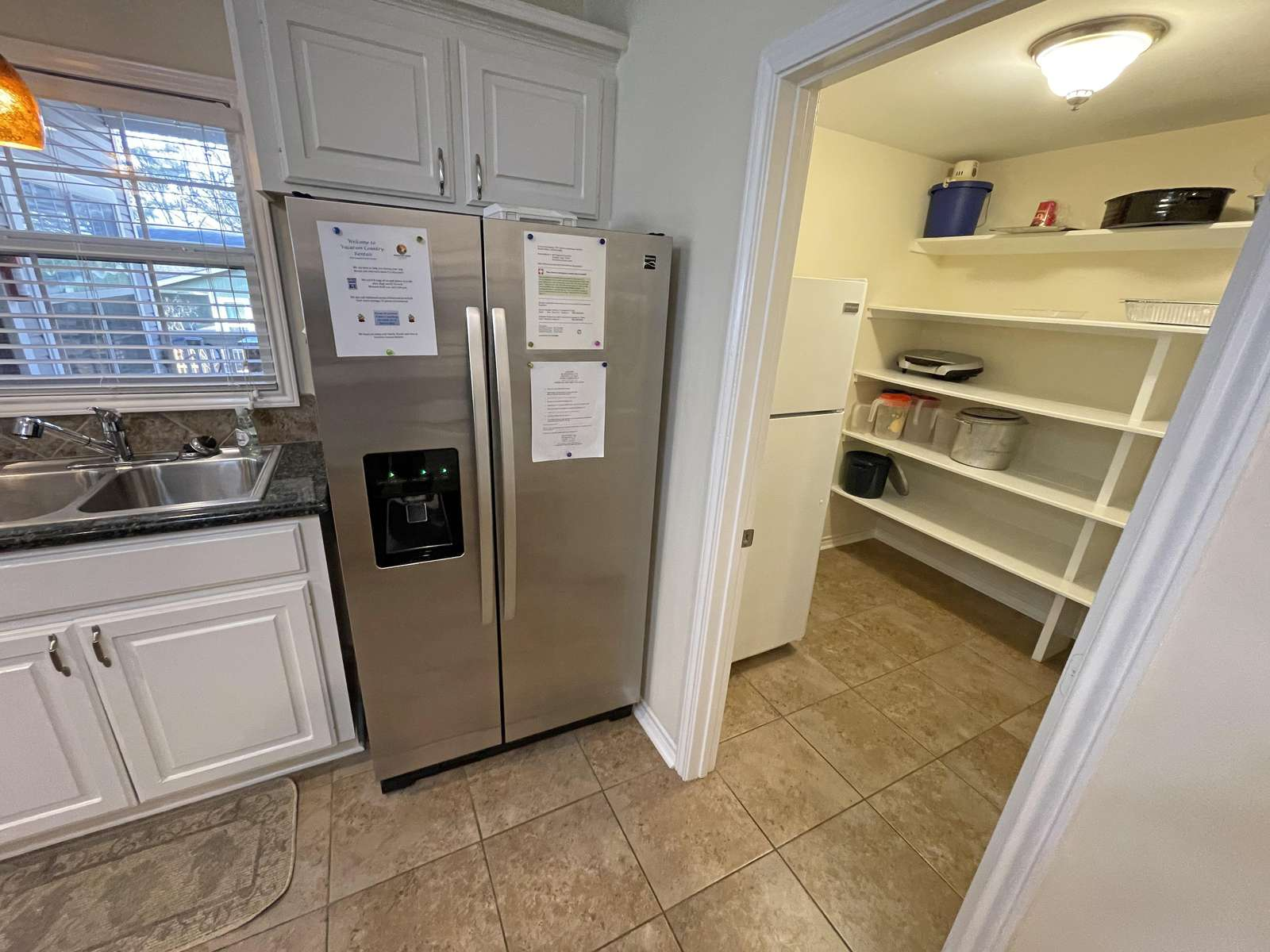 We have two refrigerators at Lakeside and a large pantry area.
