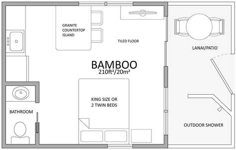 Floor plan with king bed