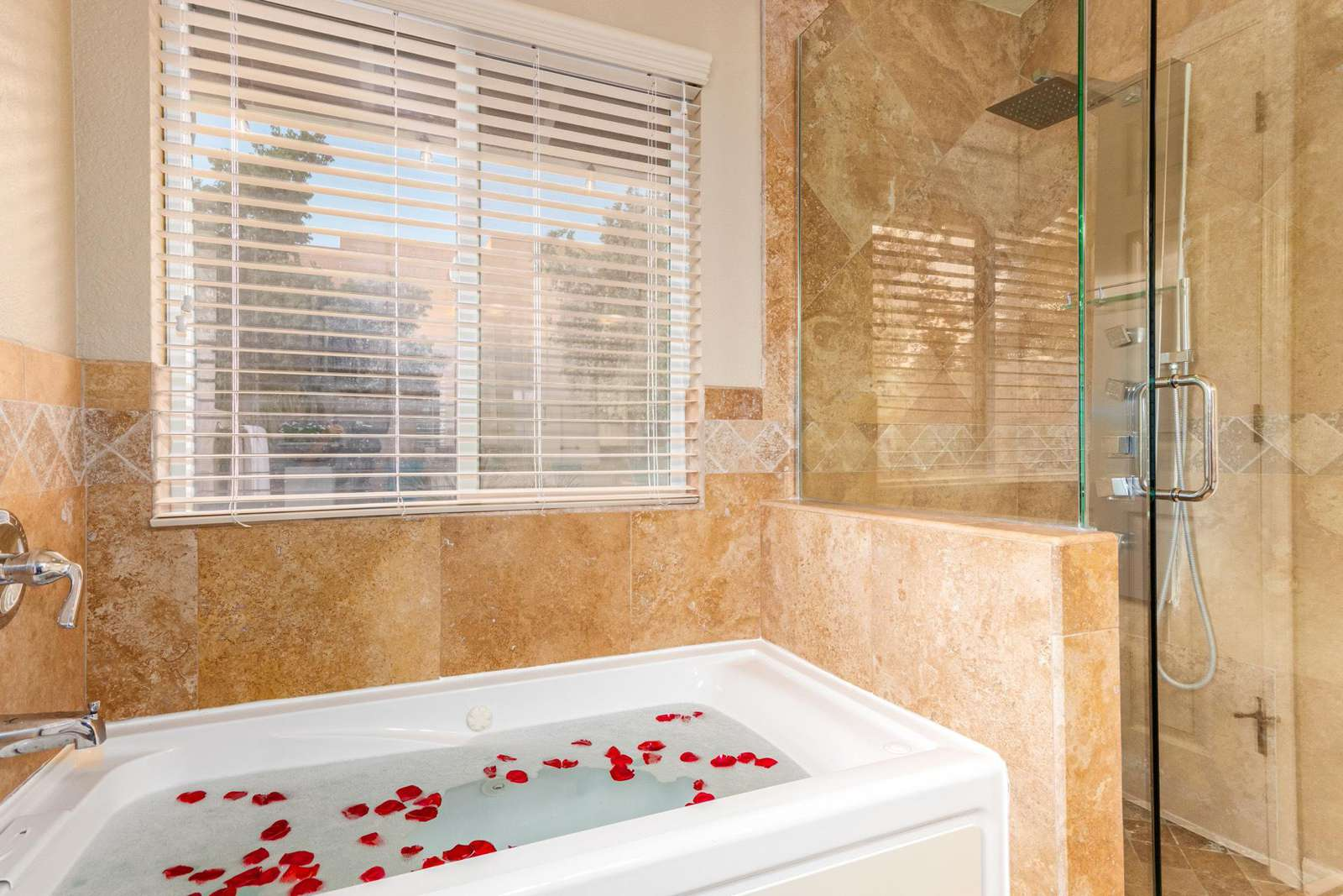 Master Jetted Tub W/ Walk In Shower.