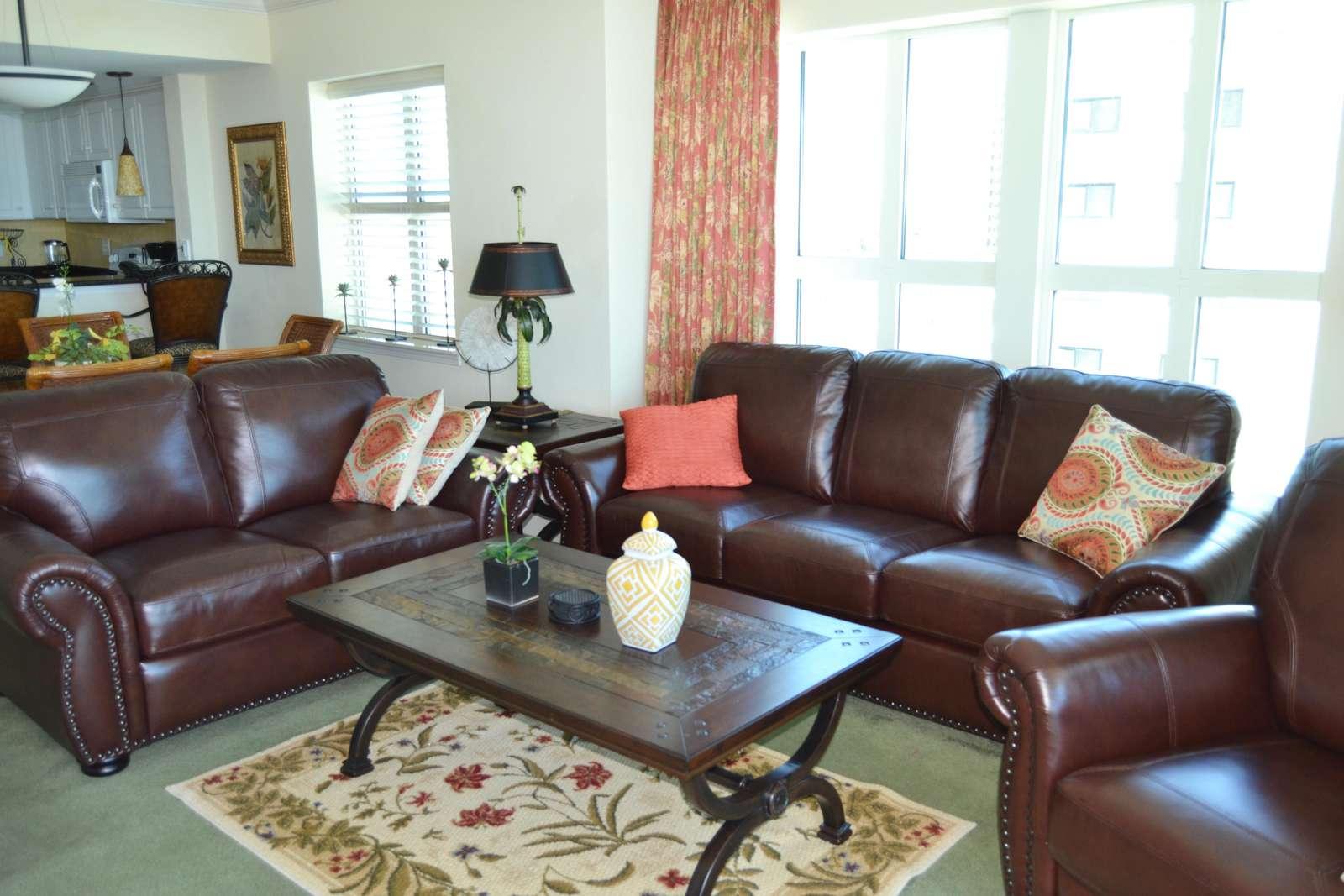 Living room, ocean views