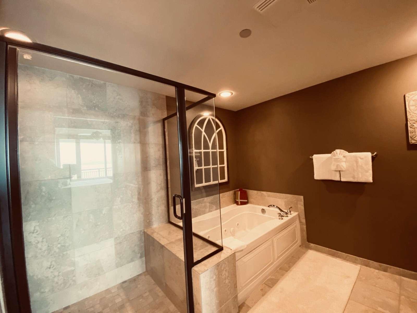 Master bathroom, large shower, jetted tub