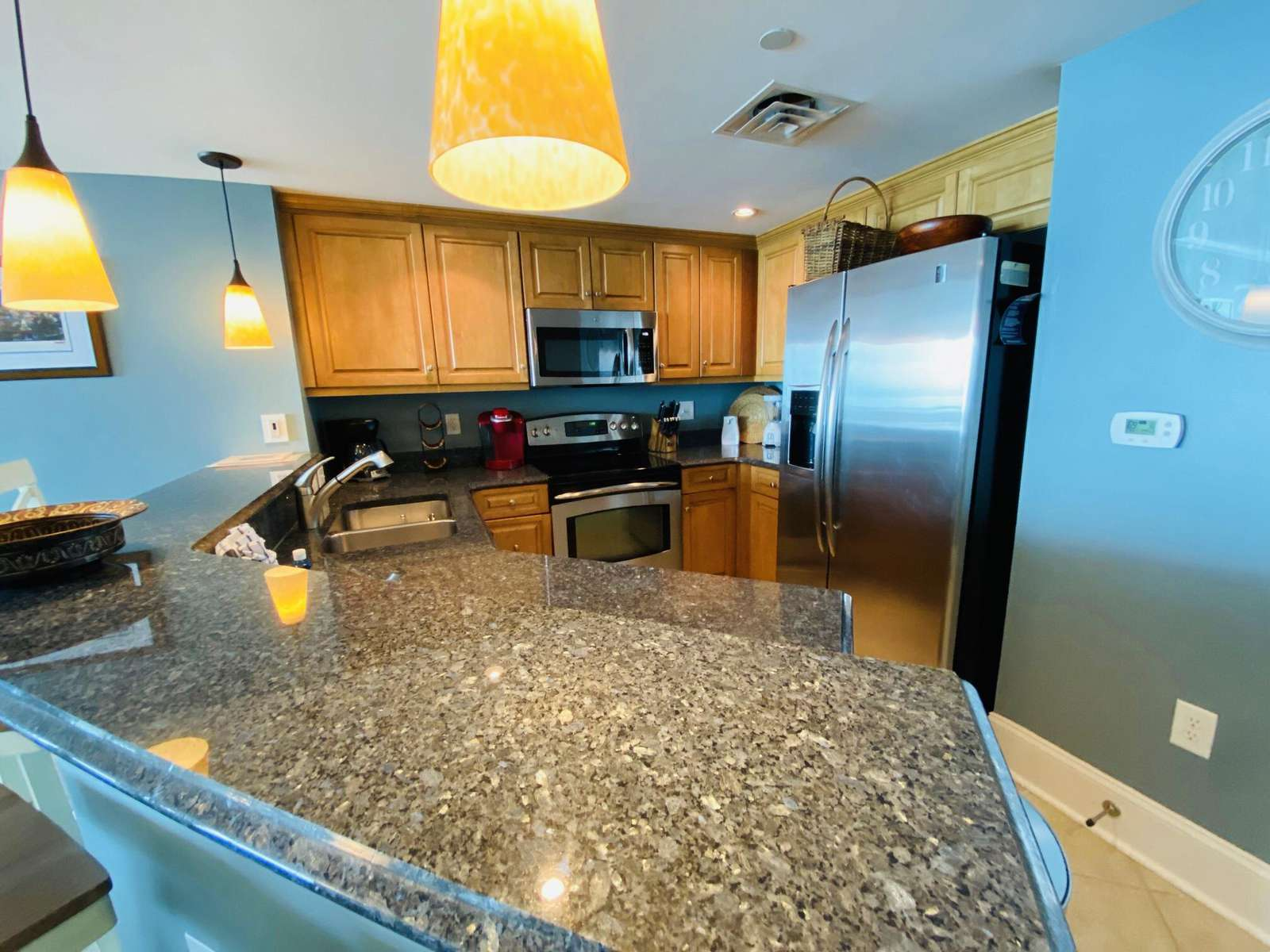 Granite tops, stainless appliances