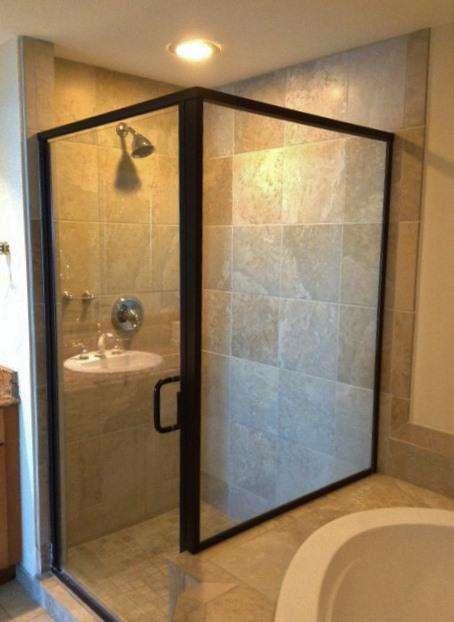 Walk in ceramic, tiled shower