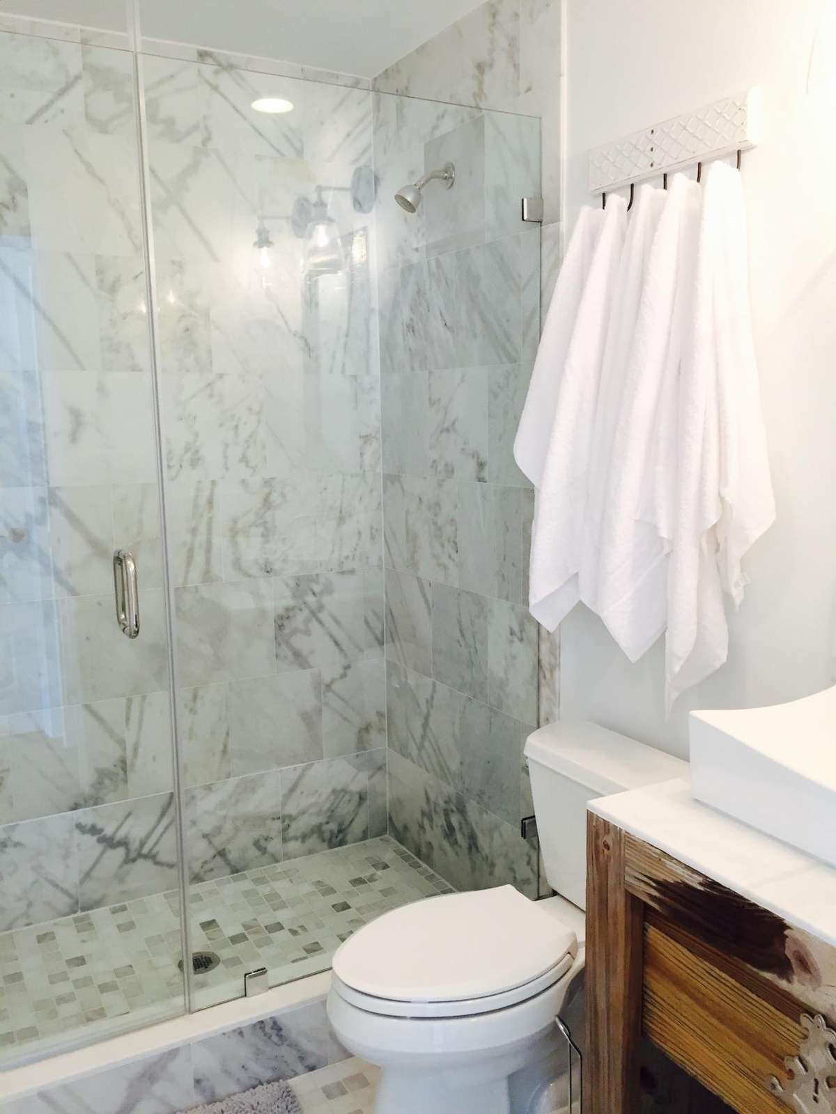 master suite bath-WHITE MARBLE, GLASS DOOR
