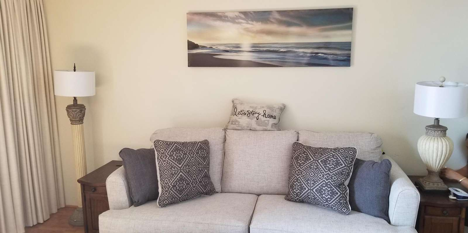 NEW art on wall above NEW memory foam sofa sleeper