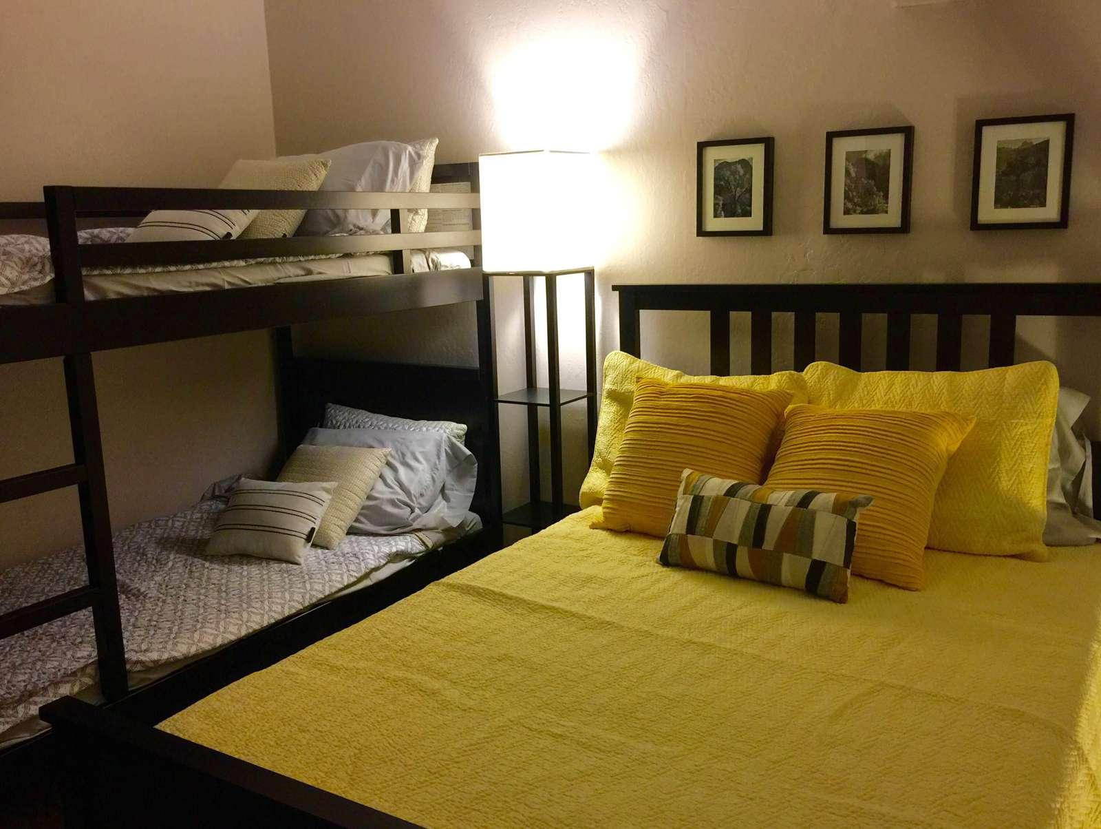 Your full size bed and bunk beds (2 twins) upstairs in the loft.