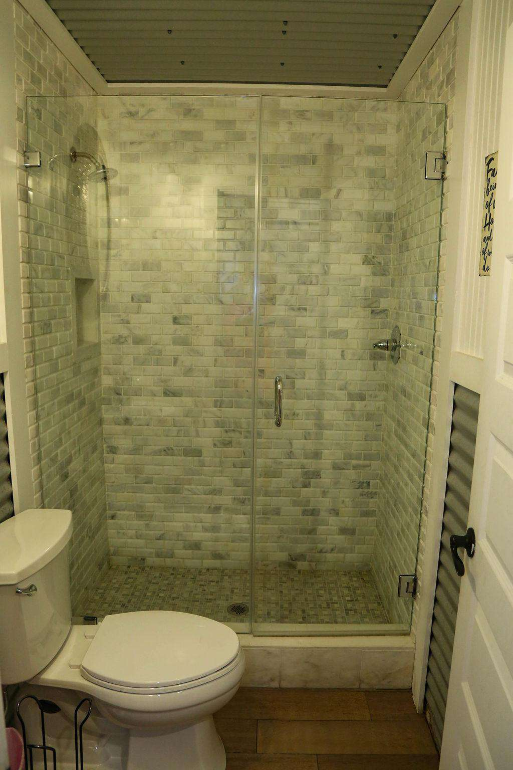 Bathroom # 7custom white marble shower