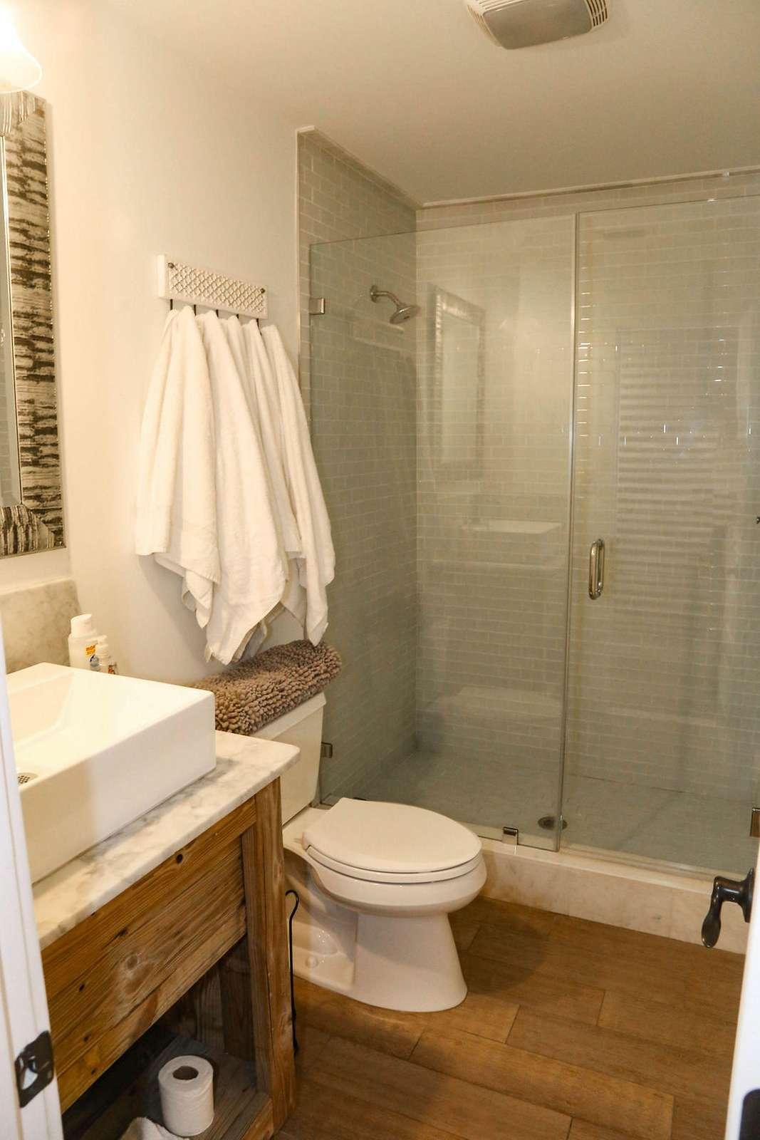 Bathroom # 8 large white marble shower with glass door