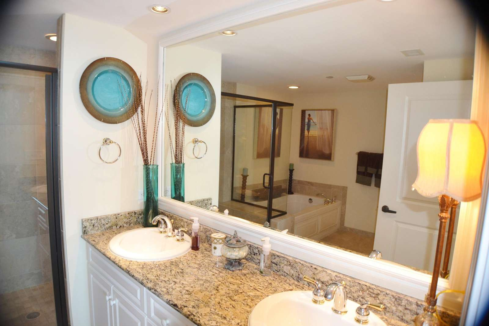 Double sinks, granite tops