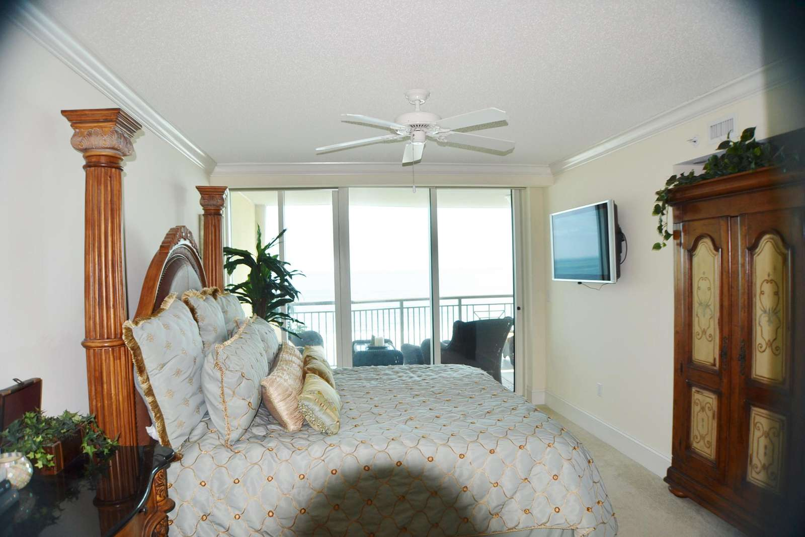 Oceanfront master suite with balcony access