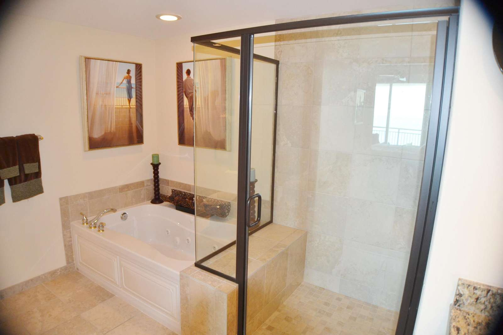 Ceramic tiled, walk in shower with seat, whirlpool tub