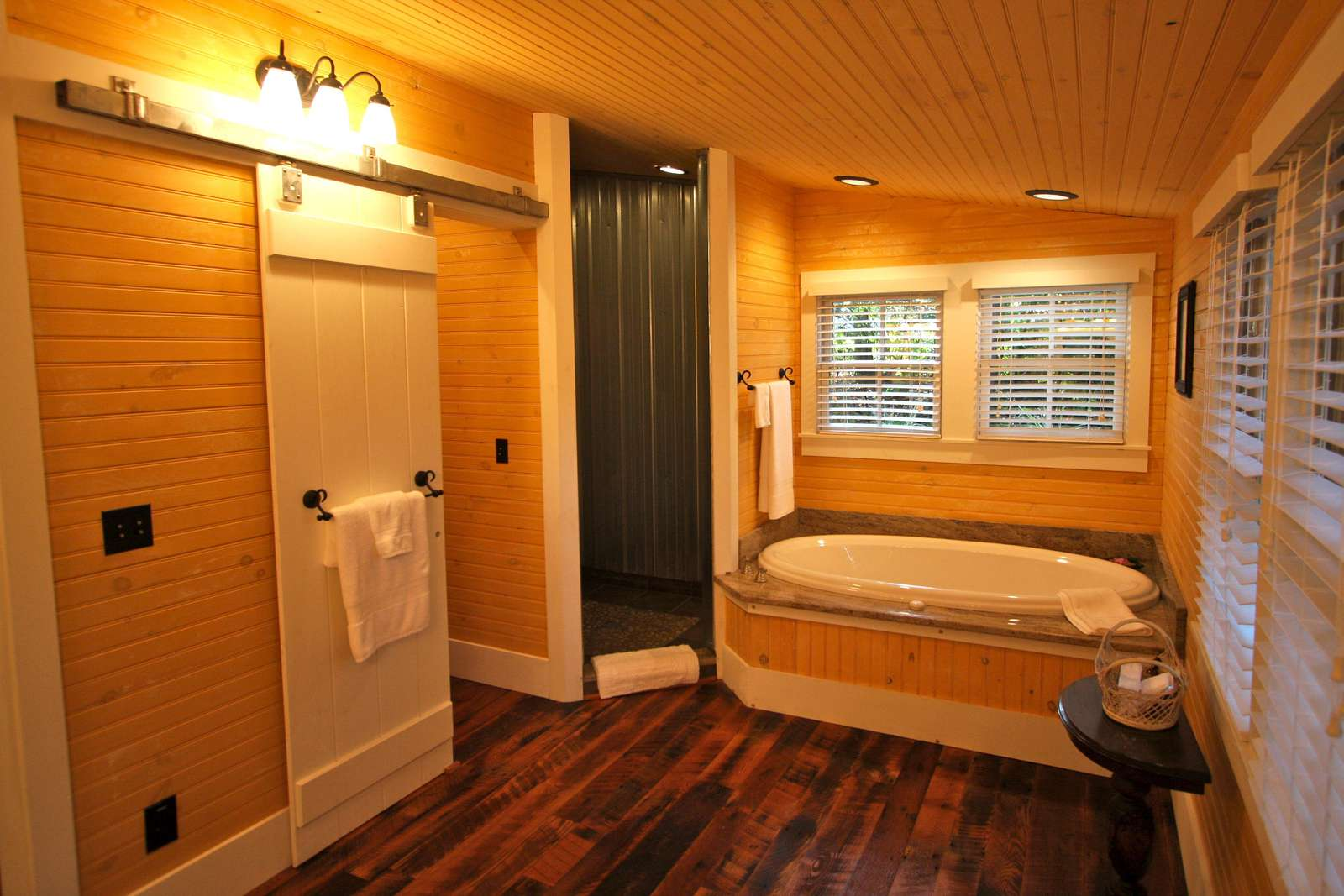 Bathroom with shower, jacuzzi tub and small room for the toilet