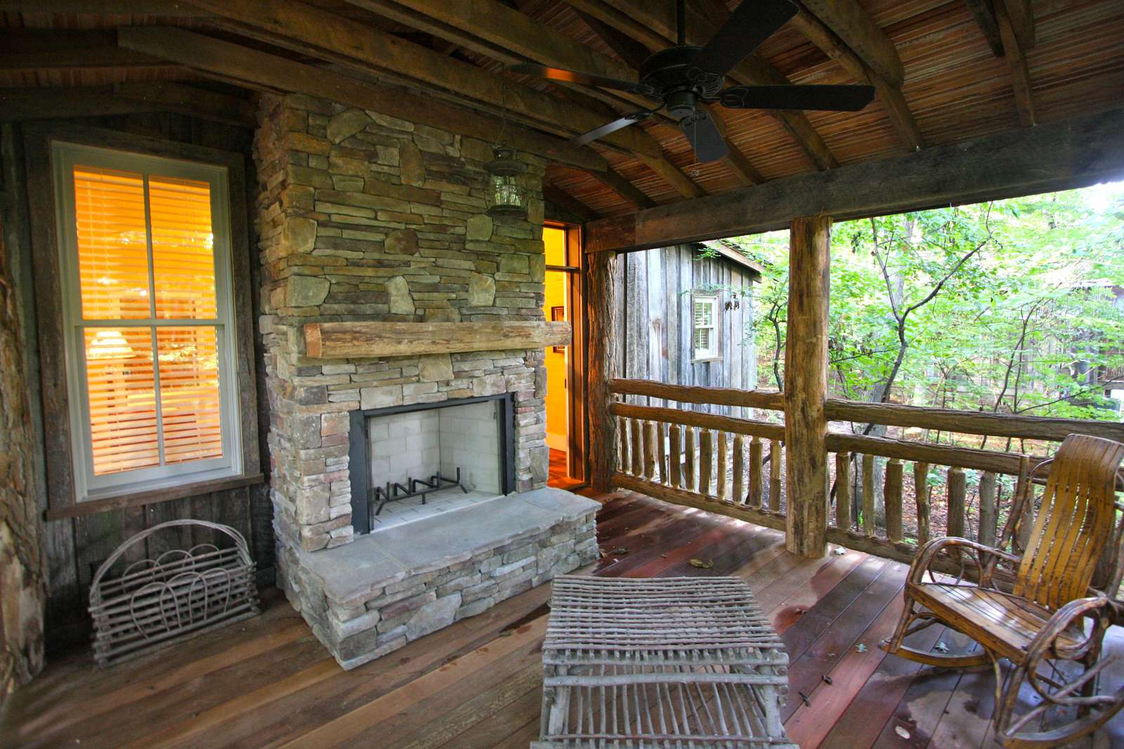Porch with wood fireplace