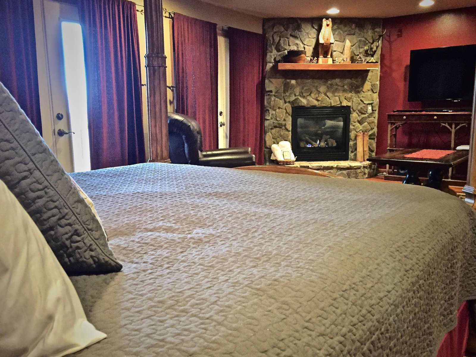 Master Suite offers a private living room, second fireplace, private deck, and a shower for 2...