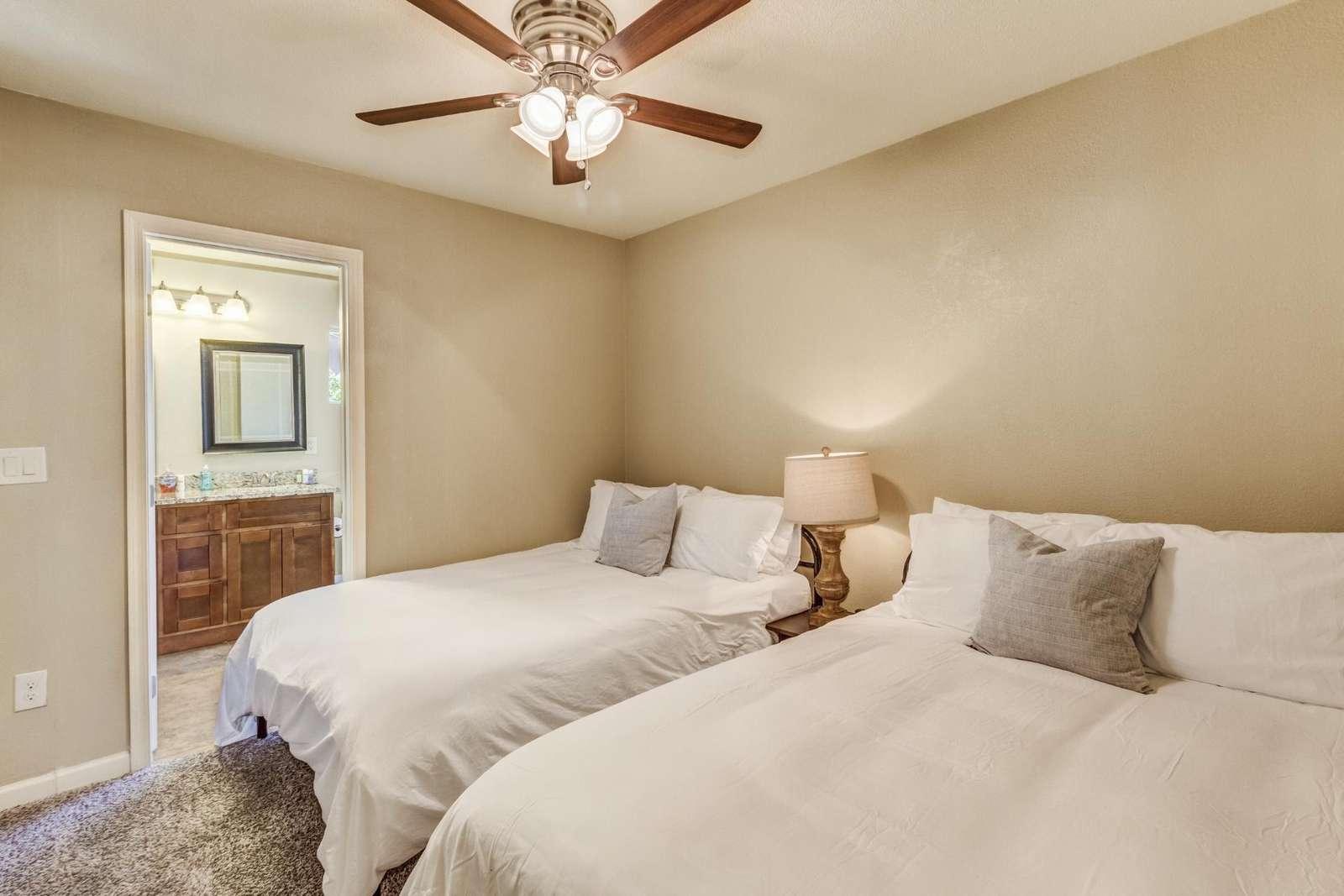 2nd Bedroom has 2 Full Beds-Bathroom-TV