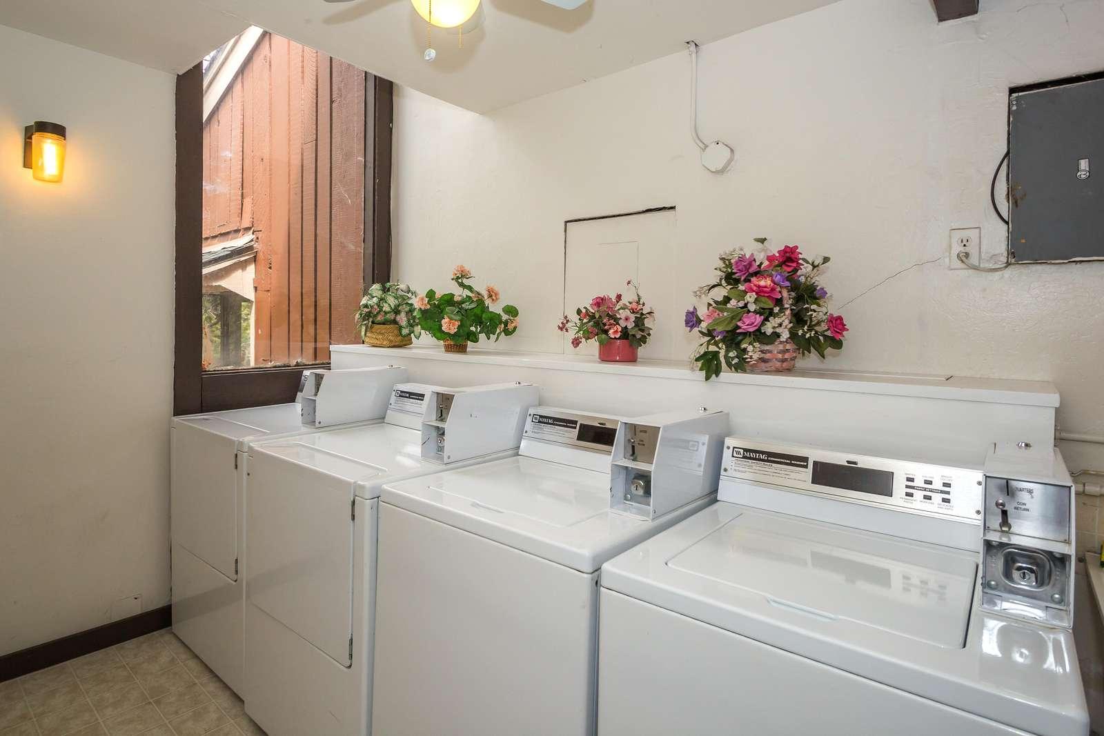 The public laundry room in the condominium building next door has coin-operated machines.