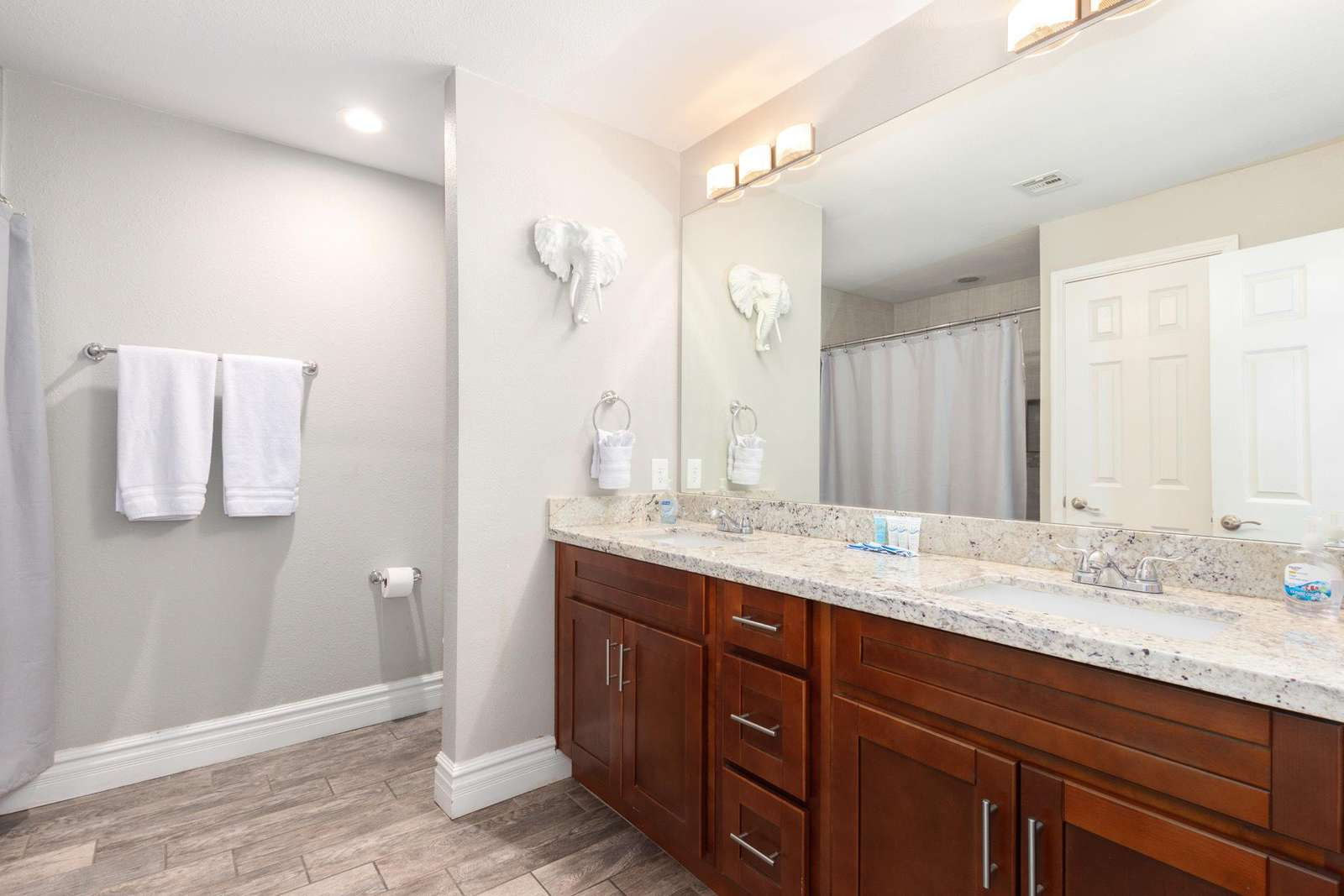 Main Bathroom Has a Tub/Shower combination and also a Double Vanity.