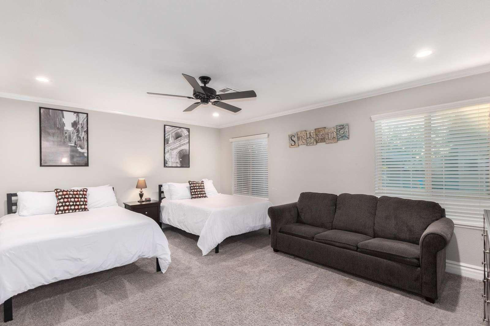 6th Bedroom Has 2 Full Beds-Queen Sofa Sleeper-TV-It's Own Bathroom