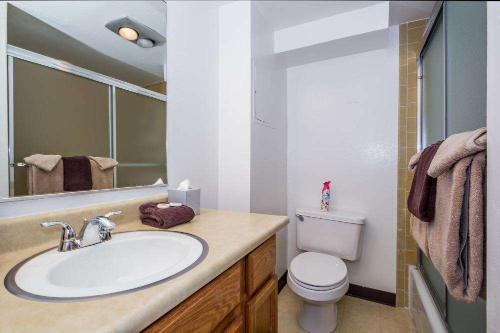 One of your two bathrooms.  Both bathrooms have a shower/tub.