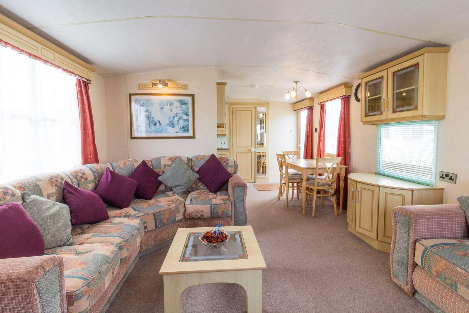 Lounge comfortable and cosy in this 6 berth caravan for hire